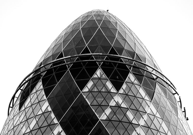 Architecture Bank Capital Cities  Check This Out City City Life Egg Exceptional Photographs EyeEm Best Shots - Black + White EyeEm Masterclass Geometric Shape Gherkin Gherkin Building Gherkin Tower Low Angle View Modern Monochromatic Monochrome Our Best Pics Skyscraper Tall - High The Architect - 2016 EyeEm Awards Tower Travel Destinations Urban Architecture