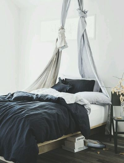 Love the color tone of this bed and sheets. ..nice idea.. Cosy Idea Interior Design I Love It ❤