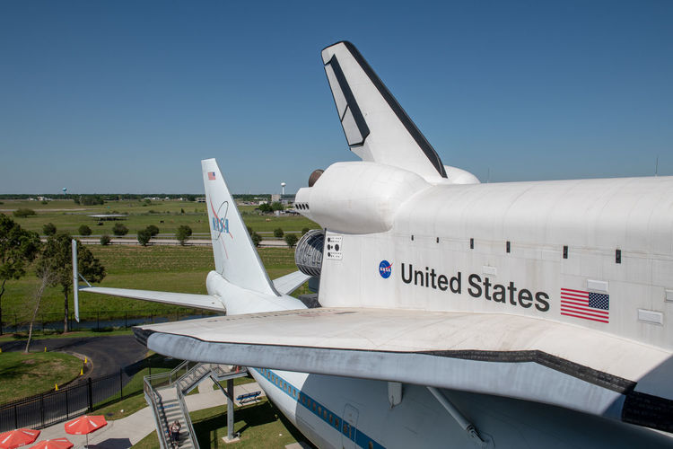 Space Shuttle at Johnson Space Center, Houston, TX 905 Aeronautics Houston Independence Johnson Space Center NASA NASA 905 Spacecraft Texas USA Air Vehicle Aircraft Aircraft Wing Airplane International Space Station Jumbo Jet Mode Of Transportation Outdoors Shuttle Sky Space Space Center Transportation