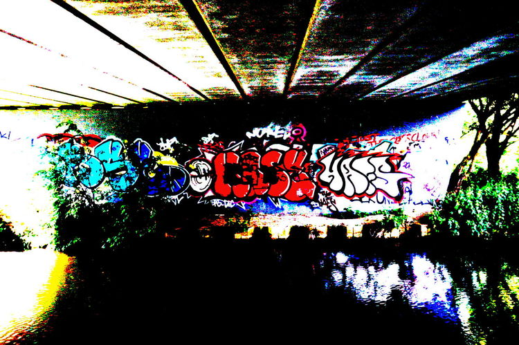 Art ArtWork Blue Bridge Bridge Wall Built Structure Day Decoration Design Graffiti Graffiti Art Growth Illuminated Low Angle View Multi Colored Nature No People Polarizing Filter Red Tag Water Water Reflections White Wicked Colour Of Life