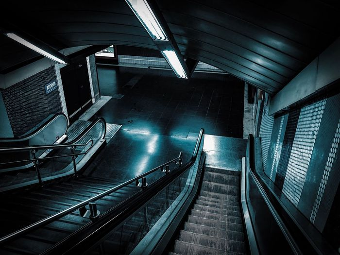 High angle view of escalators at railroad station