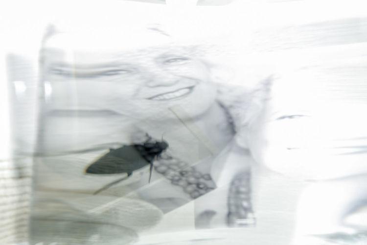 Double exposure of woman