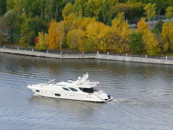 Moscow river. Autumn view. Riverside Autumn Boat Day Foliage, Vegetation, Plants, Green, Leaves, Leafage, Undergrowth, Underbrush, Plant Life, Flora Nature Nautical Vessel No People Outdoors River Riverbank Transportation Tree Water Waterfront