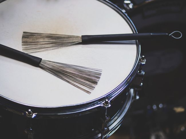 Arts Culture And Entertainment Musical Instrument Music Drum - Percussion Instrument Close-up No People Indoors  Day Music Drumstick Wire Brush Jazz Drum Kit Cymbal