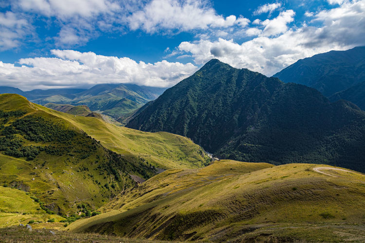 Landscape of the green mountains of the caucasus