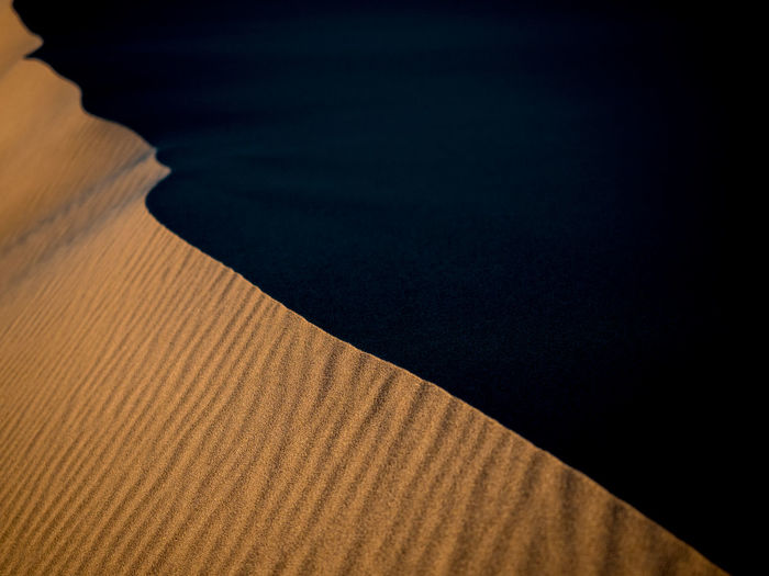 Sand Dunes in Northern China Desert Landscape Sand Sky Sunset Dune Dry Northern China Arid Climate Sandy Hot Wilderness Empty Shrubs Travel Unspoiled Nature Curves Curved Lines Abstract Abstract Photography Sand Dune Sunrise Nature China Textured