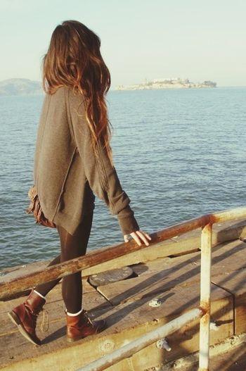 Girl Long Hair Sweater Love