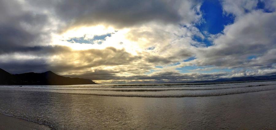Beach Beauty In Nature Cloud Cloud - Sky Cloudy Dingle Horizon Over Water Idyllic Ireland Irelandinspires Killorglin Nature Scenics Sea Shore Sky Storm Cloud Sunset Tranquil Scene Tranquility Water Weather Blue Wave 43 Golden Moments