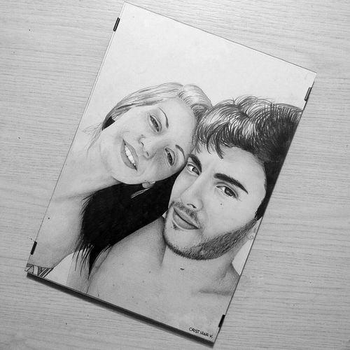 Portrait Beauty Beautiful Drawer Draw Drawing Drawn By Me Drawingoftheday Drawingtime Drawingart Drawingwork Drawing, Painting, Artwork Young Women Art Couple Love