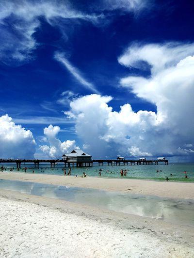 Beach Sea Cloud - Sky Blue Sky Horizon Over Water Nature Vacations Summer Sunny Travel Destinations Pier60 Boardwalk Cloudscape EyeEm Best Shots Blue Sky And Clouds