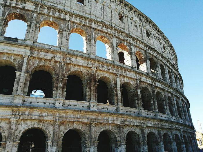 Low Angle View History Sky Blue The Past No People Travel Destinations Architecture Arch Outdoors Day Beautiful Bellezza Old Buildings Italy Roma Coloseum