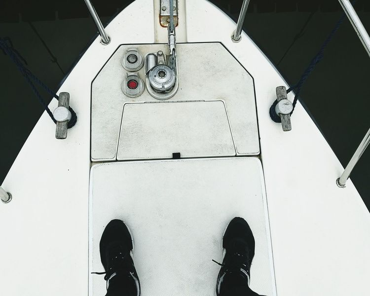 Overhead View Human Foot Personal Perspective Shoe Low Section Directly Above Person Boat Sea Boats And Water Boating Day Dark Shine Dayout Scenics Dayoff Italy Woman Large Group Of Objects Non-urban Scene Puma Sport