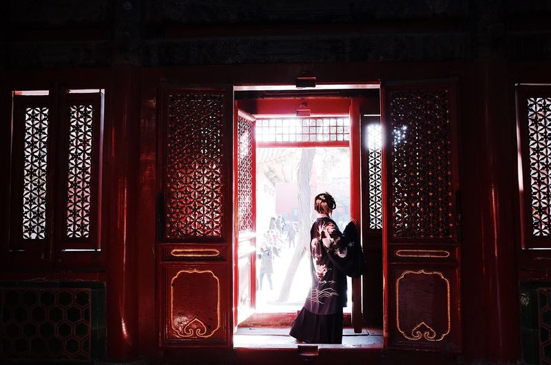 Light And Shadows Light Tradition Beauty Asian  History China Culture One Person Real People Standing Full Length Women Indoors  Lifestyles Red Door Beautiful Woman Architecture