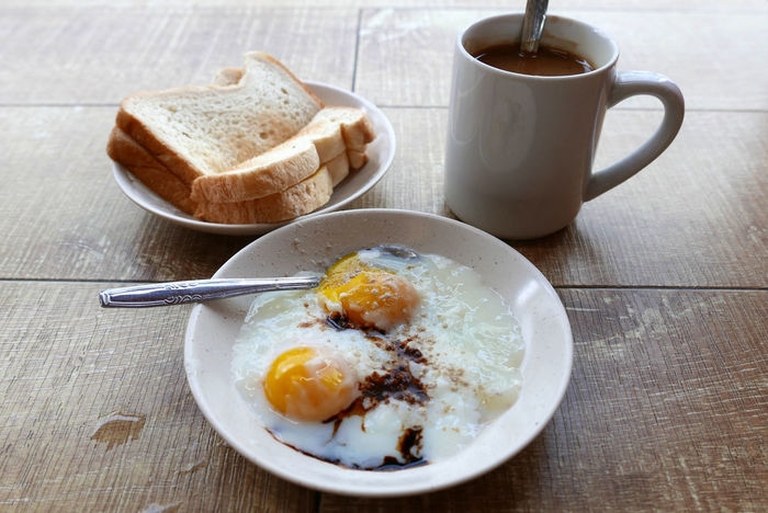 Breakfast Breakfast Coffee Eggs Food Food And Drink High Angle View Indoors  Plate Ready-to-eat Serving Size Spoon Still Life Table Toast Toastbread My Favorite Breakfast Moment