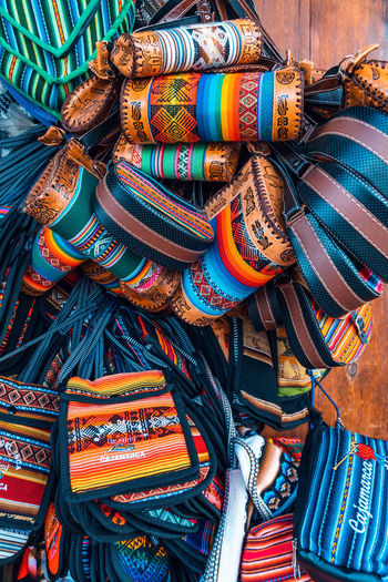 Full frame shot of multi colored purses for sale in market