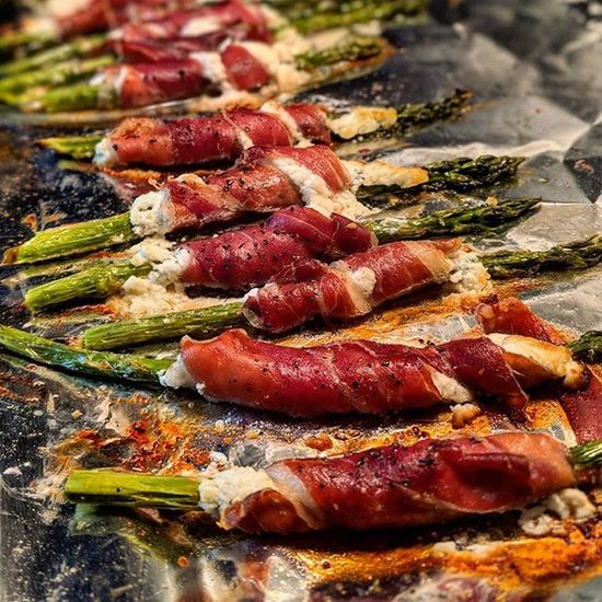 Cooking Cooking At Home Home Cooking OvenBaked Asparagus Food Goat Cheese Keto Diet Meat No People Ovencooking Pork Prosciutto