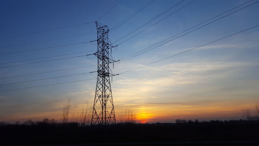 sunset time Telephone Line Technology Electricity Pylon Tree Sunset Bird Rural Scene Electricity  Cable Silhouette Power Cable Atmospheric Mood Moody Sky High Voltage Sign Power Supply Romantic Sky