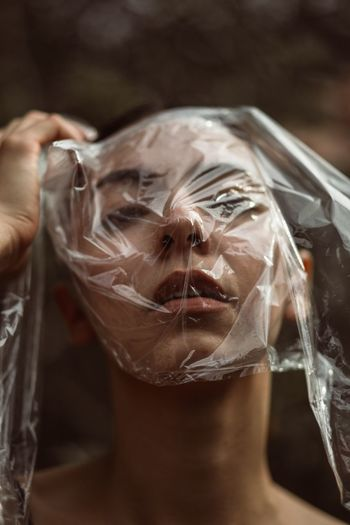 Eye Moody One Woman Only Girl Portrait Portrait Of A Woman One Person Close-up Indoors  Plastic Human Body Part Focus On Foreground Plastic Bag Wrapped Adult Human Face International Women's Day 2019