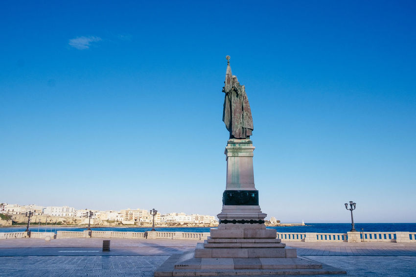 Architecture Blue Clear Sky Day Monument No People Old Town Otranto Outdoors Puglia Salento Sea Sea And Sky Sky Statue Tourism Tourist Attraction  Tourist Destination Touristic Travel Travel Destinations Travel Photography