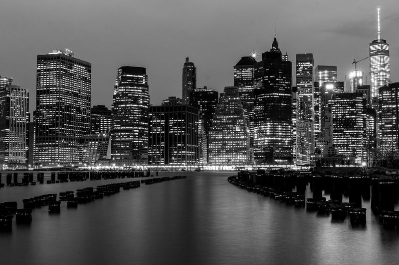 Architecture Black And White Blackandwhite Blackandwhite Photography Brooklyn City City Life Cityscape Diminishing Perspective Illuminated Modern New York Night Photography Nightphotography No People Office Building Outdoors Skyscraper Streamzoofamily Tall - High Travel Destinations Urban Skyline Water Waterfront