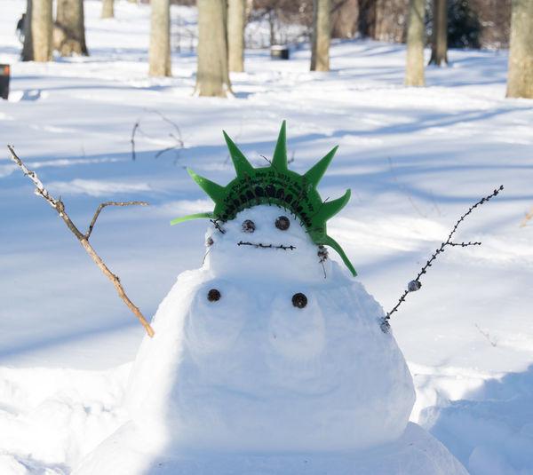 Fun Humor Humorous Lady Liberty Snowman Prospect Park Snow Snow ❄ Snowman Statue Of Liberty Winter