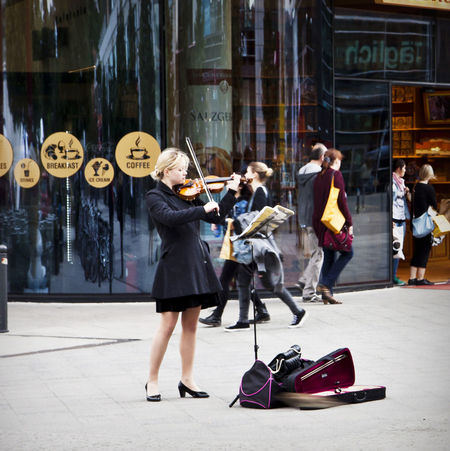 Street music, young woman performs playing violin in Berlin, city center Arts Culture And Entertainment Berlin Classical Music Day Fiddle Girl Informal Music Music Stand Musical Instrument Musician Outdoors People Performance Playing Real People Standing Street Street Artist Street Music The Street Photographer - 2017 EyeEm Awards Violin Young Woman