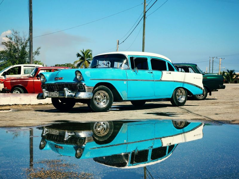 Havanna, Cuba Cuba Streets CUBA! Cuba Cars Cuba Collection Oldtimer Cuba Sun Car Blue Water Day Reflection Land Vehicle Sky Outdoors Canonphotography Canon EOS 5D MarkIII Vacations Traveler Travel Photography Cuba Habana