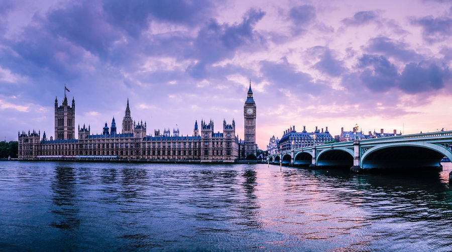 Dramatic sunset in London, England Architecture Big Ben Bridge Building Exterior Capital Cities  City England Europe Famous Place Houses Of Parliament International Landmark London Outdoors River Sky Thames River Tourism Travel Destinations Wanderlust Water Waterfront