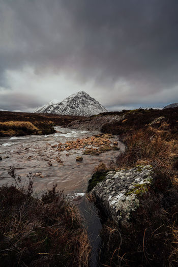 Rannoch moor mountain and river in scotland