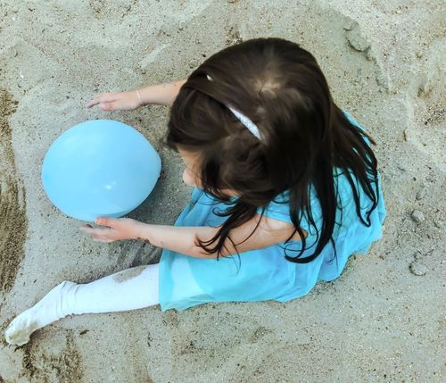 Childhood Girls One Person Real People Playing Day Outdoors Full Length Child People Blueballoon Sand Balloon