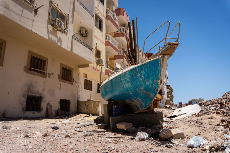 Away from the tourist routes in hurghada. boat repair near a resident area