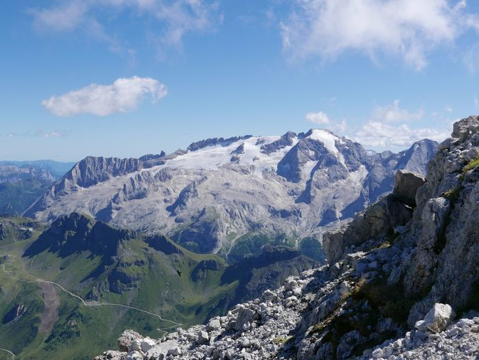 Scenic view of mt marmolada against sky