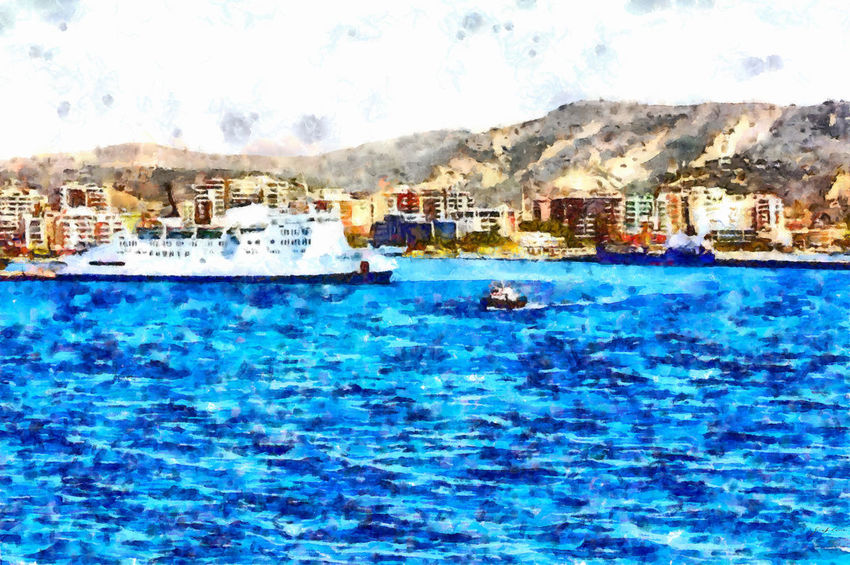 With the ship coming from Italy, I see Valona and the harbor pier from the sea Architecture Blue Building Exterior Built Structure City Outdoors Sea Water