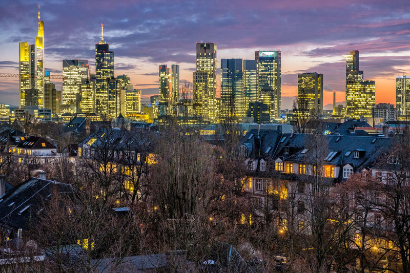 Frankfurt Skyline at winter sunset Building Exterior Architecture Built Structure Sky Building Factory Industry City Nature Cloud - Sky Office Building Exterior Landscape Skyscraper Cityscape Urban Skyline No People Dusk Fuel And Power Generation Outdoors Smoke Stack Pollution Air Pollution Industrial Equipment Apartment Frankfurt Am Main