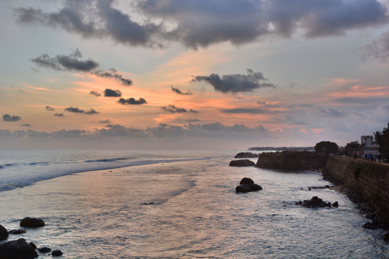 Sunset in Galle fort. Sri Lanka Architecture Galle Galle Fort Historical Building Indian Ocean Old Wall Sri Lanka Beauty In Nature Ceylon Cloud - Sky Galle Sri Lanka Horizon Over Water Island Nature Outdoors Scenics Sea Sunset Tranquil Scene Tranquility Travel Destinations Tropical Water