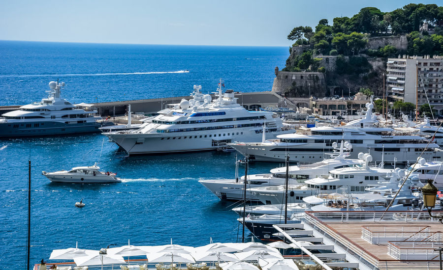 Blue Building Exterior Cruise Ship Day Harbor Horizon Over Water Mode Of Transport Moored Nature Nautical Vessel Navy No People Outdoors Port Monaco Sea Ship Sky Transportation Tree Water Yacht