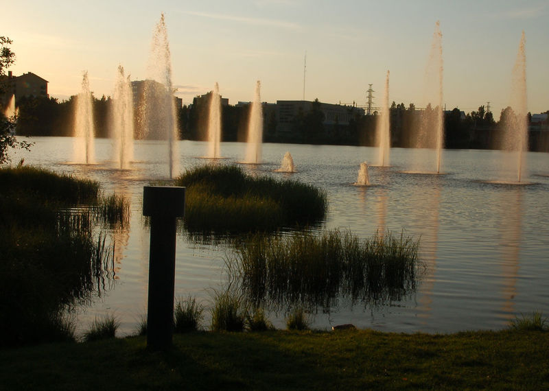 Built Structure City Day Evening Light Fountain Lake Nature No People Outdoors Plant Reflection Sky Travel Destinations Water Water Jet