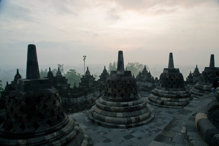 Borobudur temple against sky during sunrise