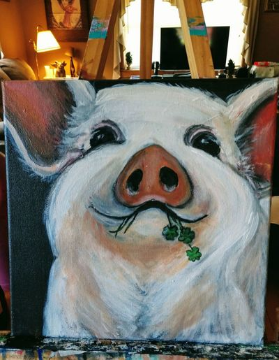 Pigs Farm Life Working St Patrick's Day Shamrock Acrylic Painting Painting Cute Cute Animals Art And Craft Close-up