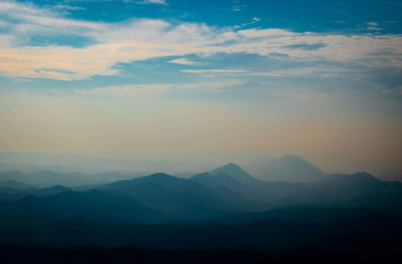 Fifty shades of blue. Mountain Fog Multi Colored Sunset Sky Landscape Mountain Range Cloud - Sky Multi-layered Effect Atmospheric Mood Layered Moody Sky