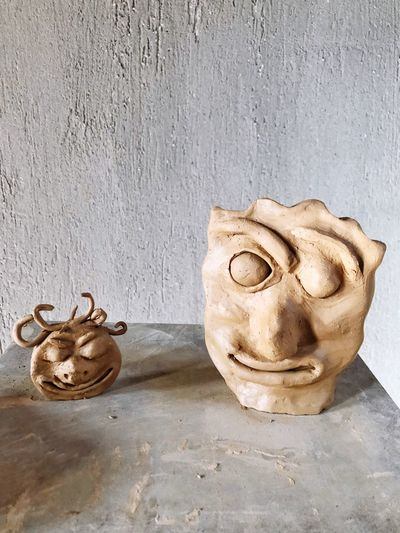 Mask Copy Space Craft Clay Handmade Object EyeEm Selects Wall - Building Feature No People Day High Angle View Nature Still Life Built Structure Art And Craft Creativity