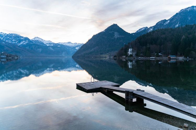 Water Reflection Lake Mountain Beauty In Nature Tranquil Scene Sky Tranquility Scenics - Nature Cloud - Sky Nature No People Non-urban Scene Mountain Range Snow Tree Cold Temperature Day Winter Snowcapped Mountain