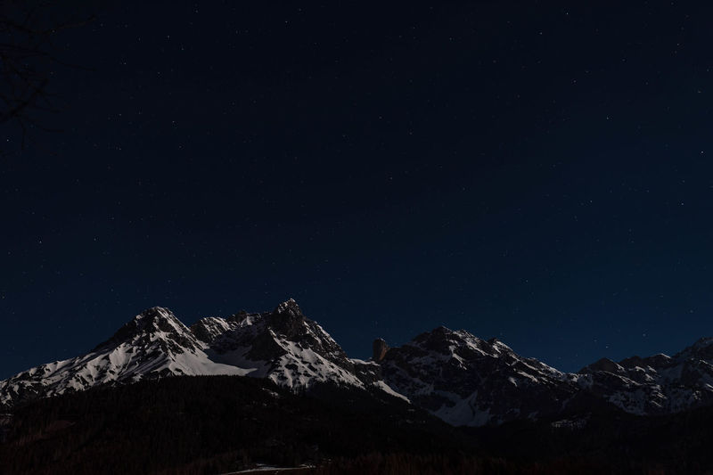 Mountain Scenics - Nature Snow Winter Sky Star - Space Beauty In Nature Snowcapped Mountain Night Tranquility Tranquil Scene No People Nature Alps By Night Austrian Alps Steinernes Meer Moonlight Alps By Moonlight High Iso Night Photo
