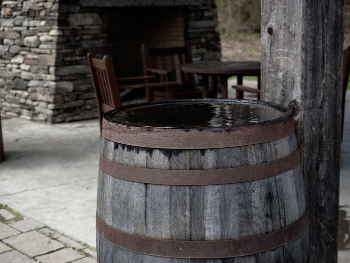 Wood - Material Day Focus On Foreground Barrel No People Cylinder Container Outdoors Metal Trunk Old Tree Trunk Brick Still Life Nature Architecture Wine Cask Wall Close-up Crate Drum Water Fireplace Outdoor Fireplace Chairs