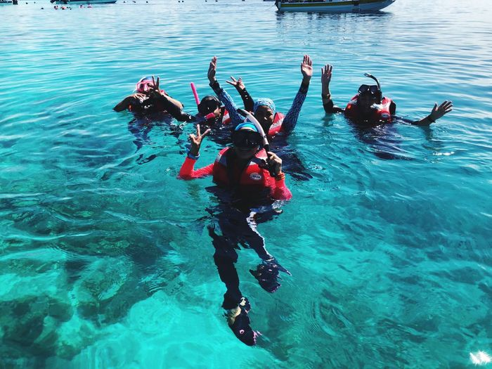 Snorkelling with friends in clear waters beautiful underwater world Water Sport Sea Nature Aquatic Sport Adventure Group Of People Real People Lifestyles Leisure Activity Swimming Underwater Day Outdoors Waterfront