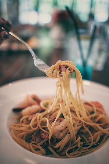 Close-up of spaghetti in bowl