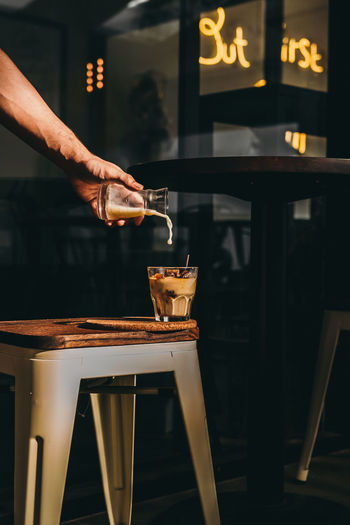 affogato Affogato Coffee Coffee - Drink Milk Coffee Cup Ice Iced Human Hand Working Preparation  Occupation Preparing Food Making Holding Business Finance And Industry Food And Drink