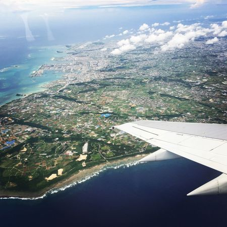 Okinawa. From An Airplane Window Landscape Travel Photography On The Plane