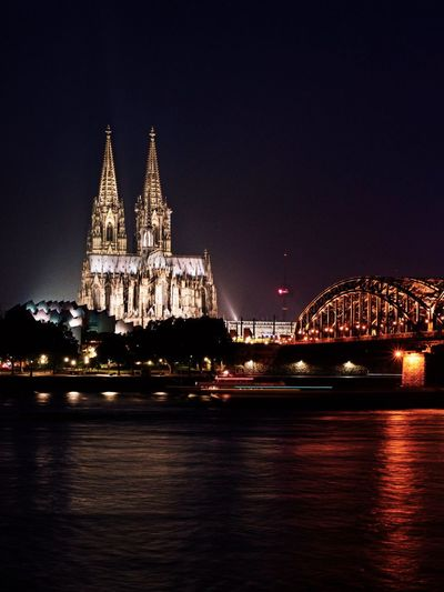 Köln By Night Night Illuminated Architecture Building Exterior Built Structure Water Sky Travel Destinations City No People Waterfront River Travel Outdoors