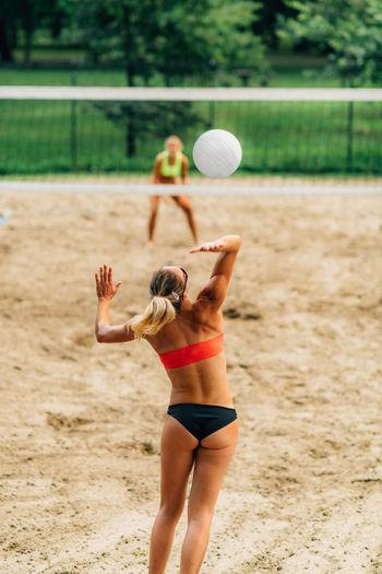 Beach volleyball service